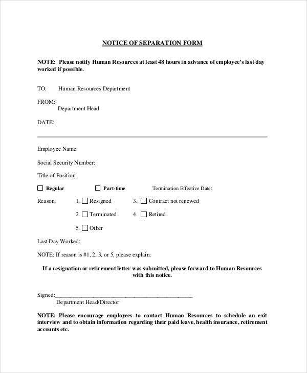 notice of separation form download