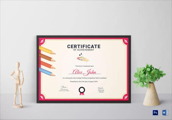 painting achievement certificate