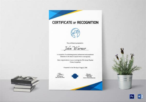 Physical Fitness Recognition Certificate