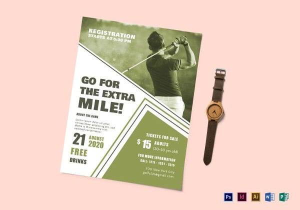 printable golf club event flyer template