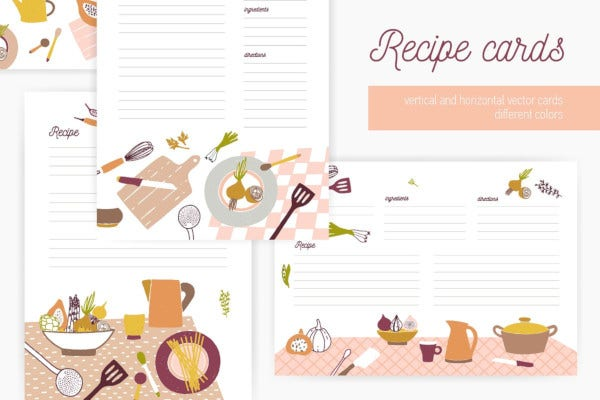 recipe cards set