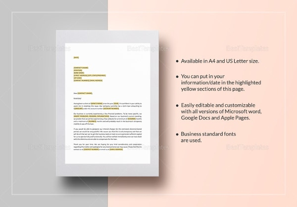 request-deferral-of-interest-payment-template