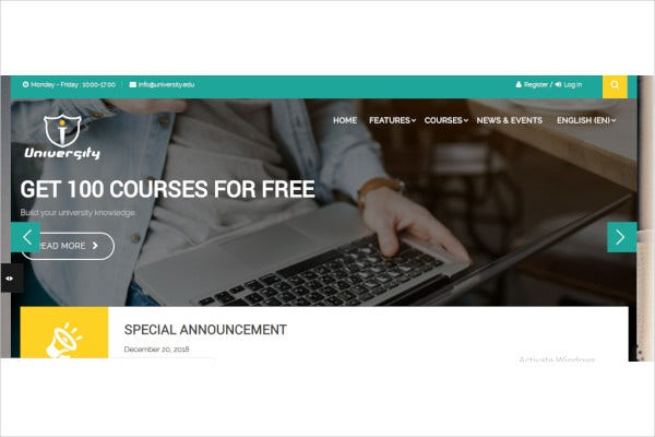 responsive school education moodle theme