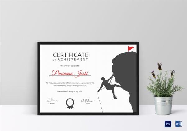 rock climbing achievement certificate