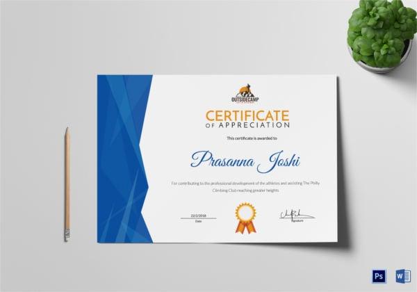rock climbing appreciation certificate