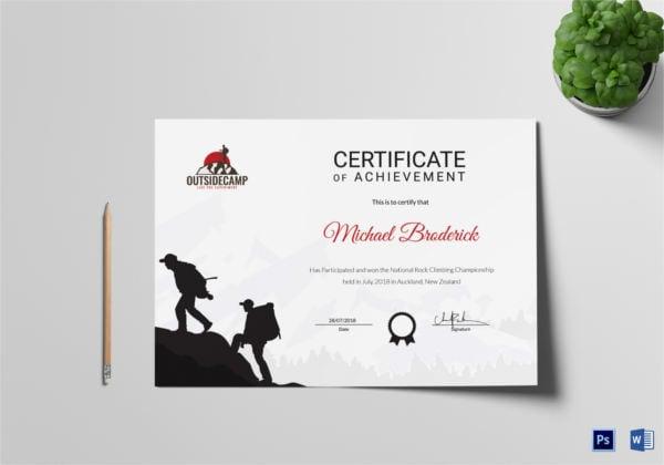 rock climbing participation certificate