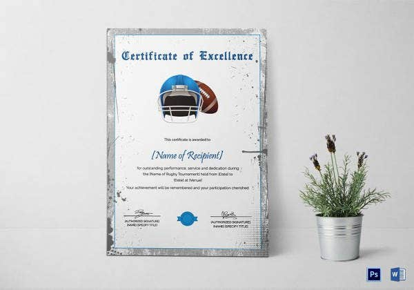 rugby certificate of excellence template