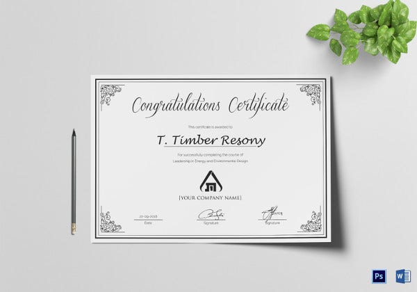 simple congratulation certificate psd
