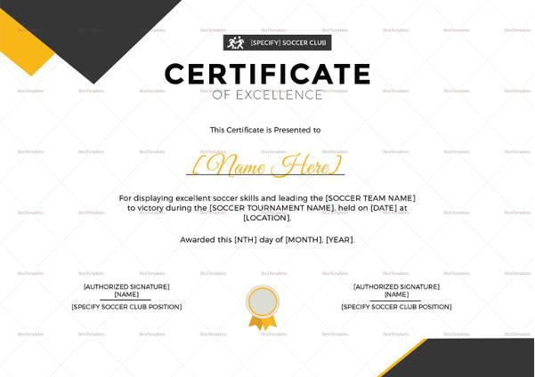 soccer certificate 15 word psd format download free premium