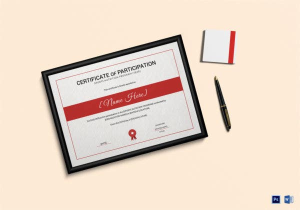 sports nutrition participation certificate