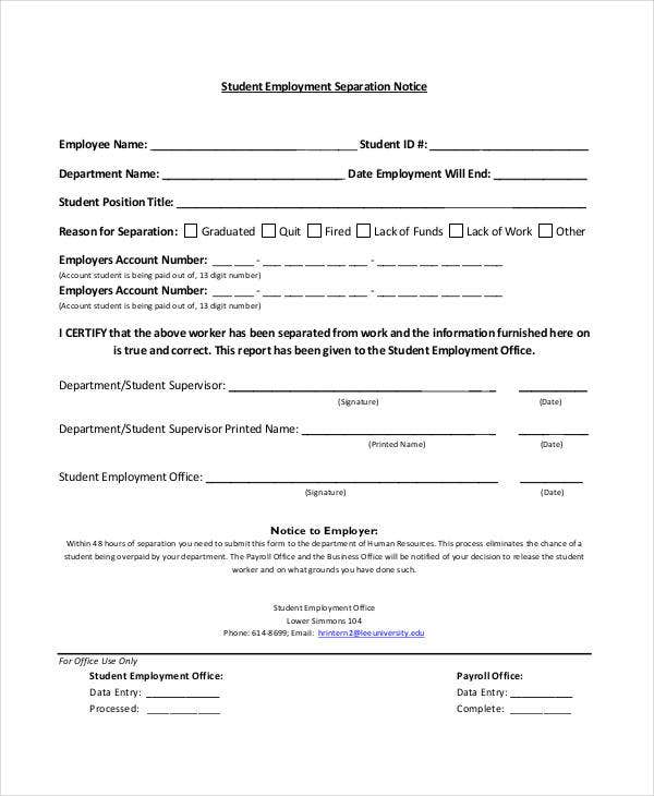 student employment separation notice