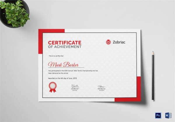table tennis achievement certificate template