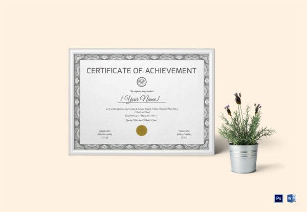 Tennis Achievement Certificate