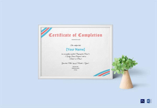 tennis completion certificate template