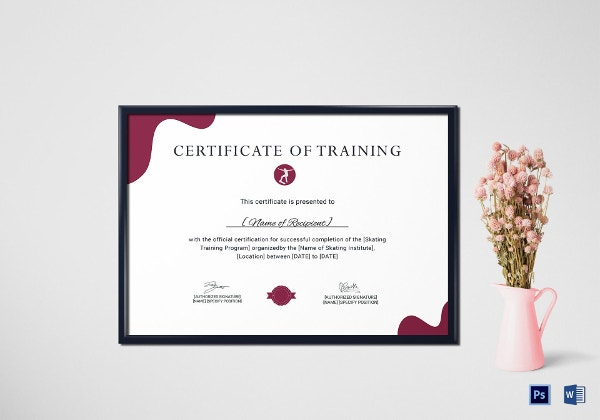 training certificate for skateboarding