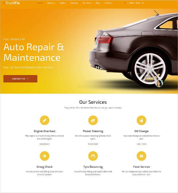 truckfix car repair responsive website