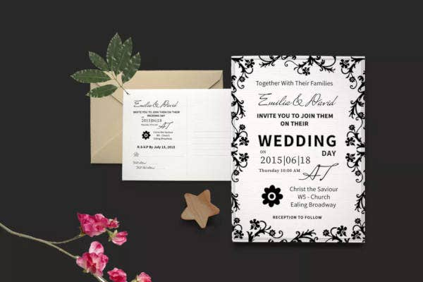 typographic wedding invitation template