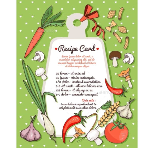 vegetables recipe card