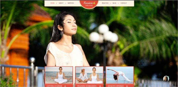 website design for yoga club