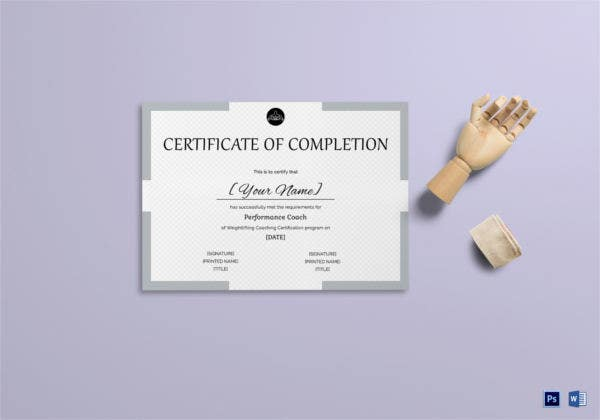 Certificate of Weight Lifting Completion