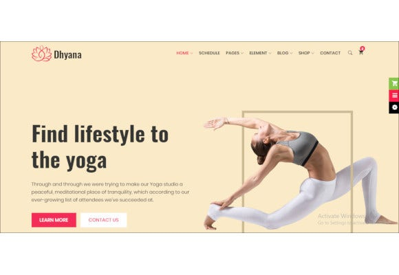 yoga studio meditation html template
