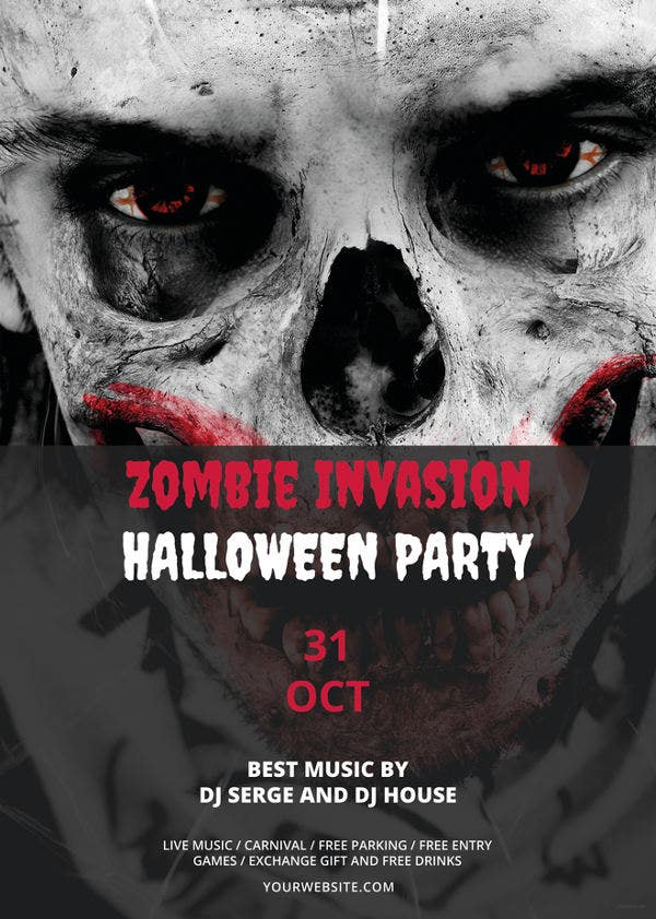 zombie invasion halloween flyer