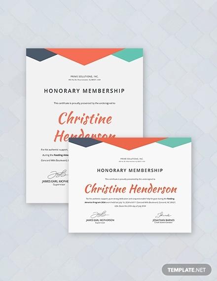 honarary member certificate
