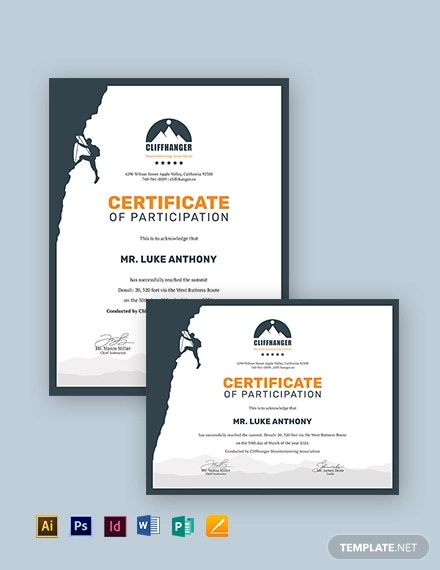 rock climbing certificate