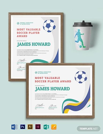 soccer award certificate