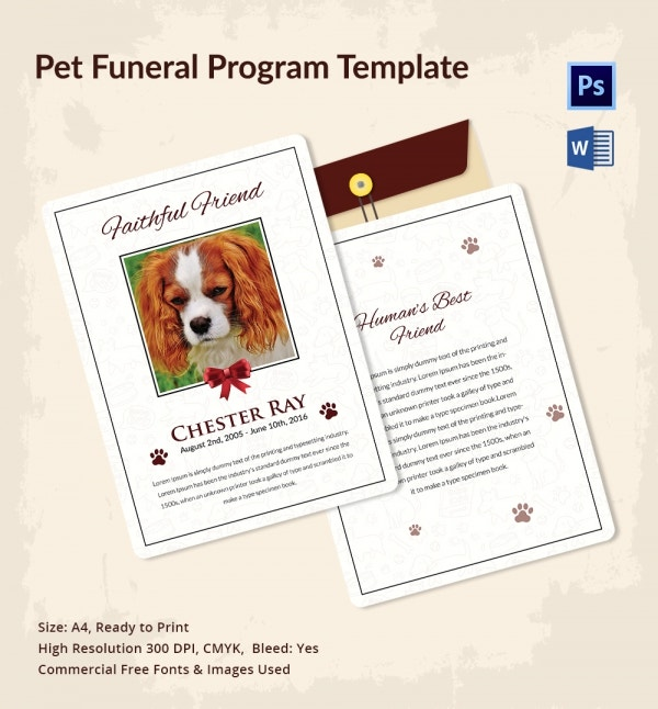 free pet funeral program template