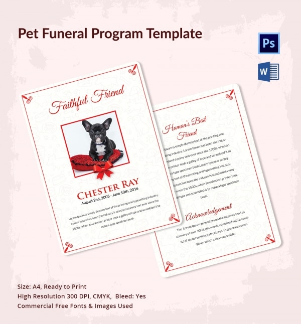 pet funeral program template download