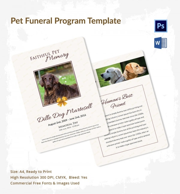 honest pet funeral program template
