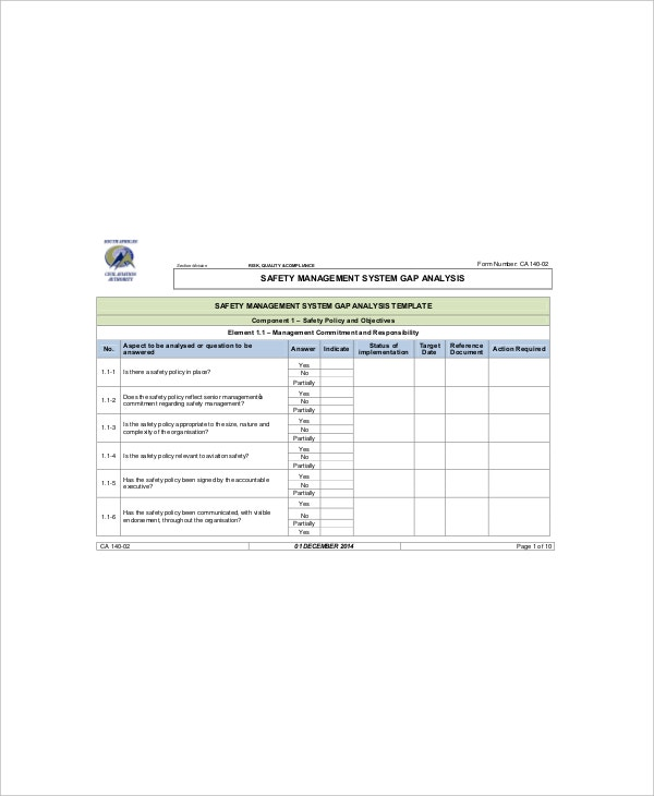 Safety Gap Analysis Templates  Free Sample Example Format