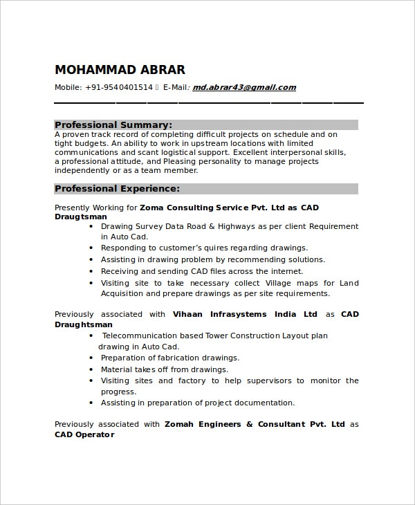 Lovely Draftsman Mechanical Resume  Autocad Drafter Resume