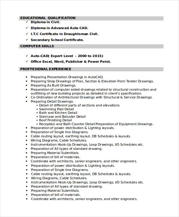 Wonderful Structural Draftsman Resume Ideas Autocad Drafter Resume