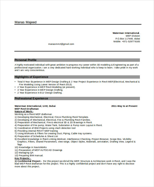 7+ Draftsman Resume Templates - Free Word, PDF Document Downloads