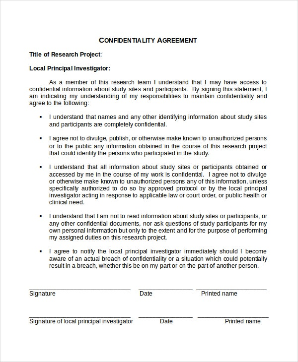 20 confidentiality agreement templates free sample for Secrecy agreement template