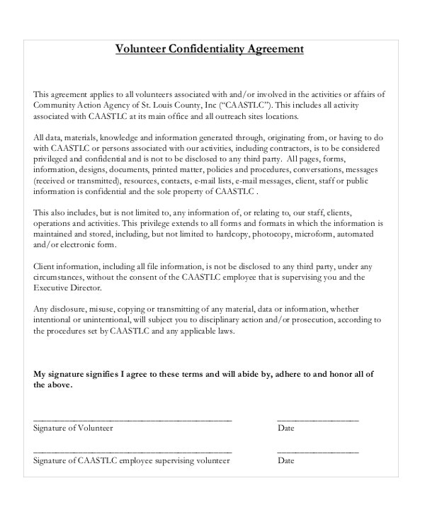 Volunteer Confidentiality Agreement Template