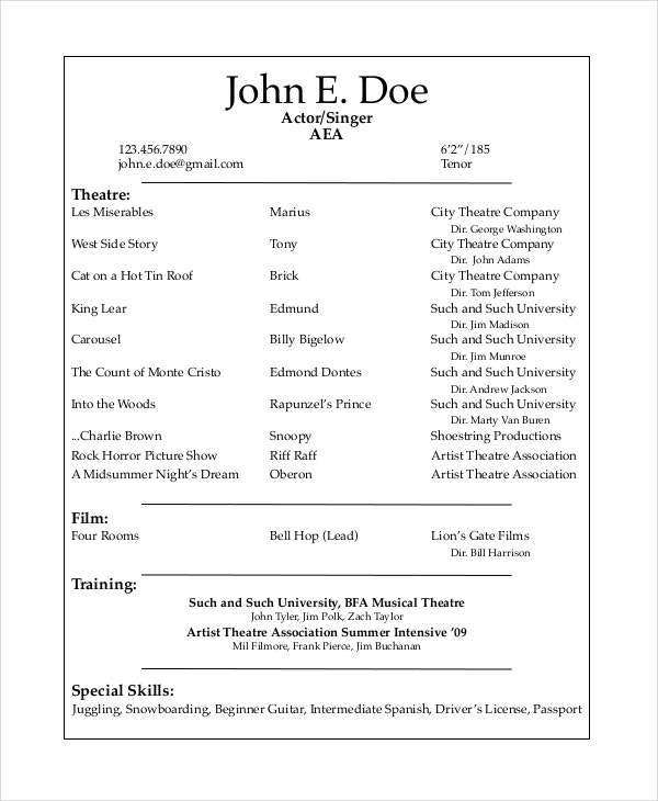 musical theater resume template - Sample Musical Theatre Resume