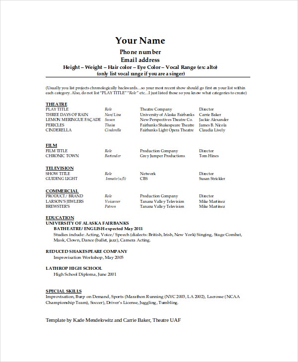 Theater Resume Template   Free Word Pdf Documents Download