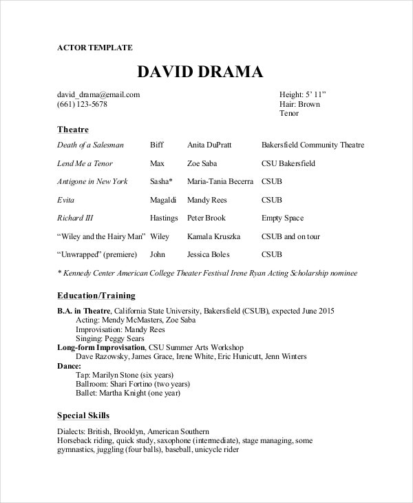 theater resume template