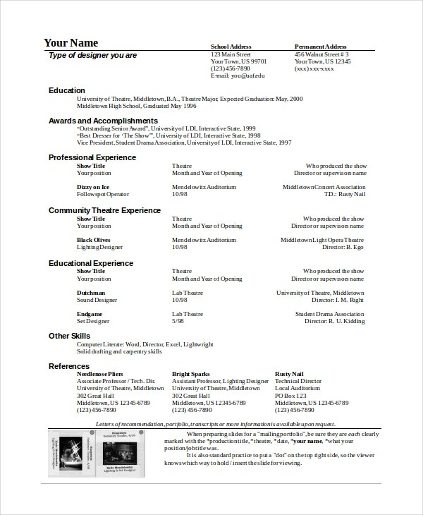 theater technician resume template - Technical Theatre Resume Template