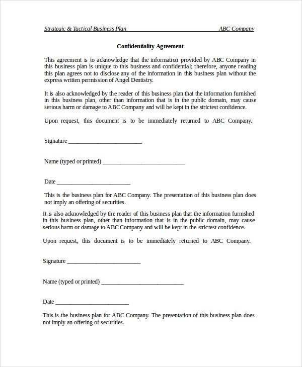 20 confidentiality agreement templates free sample example business confidentiality agreement template wajeb Images
