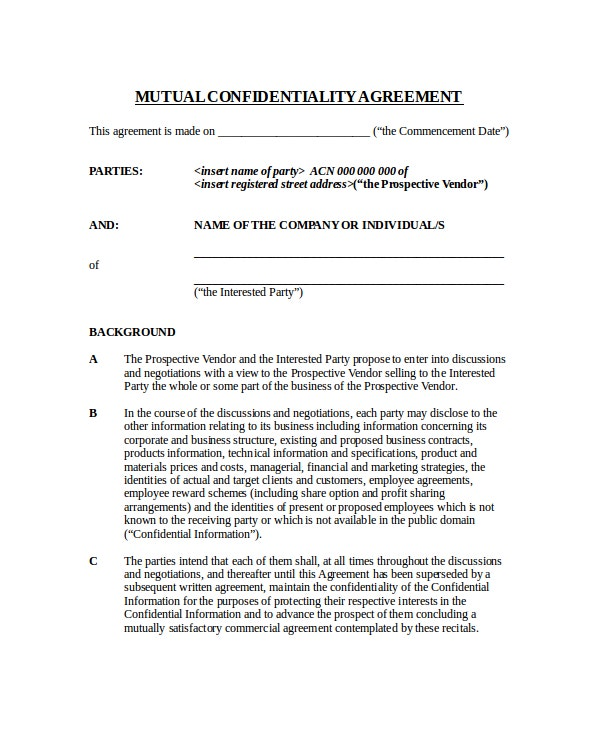 mutual will template - 20 confidentiality agreement templates free sample