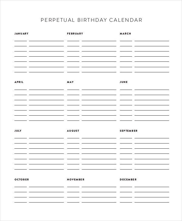 photograph regarding Free Printable Perpetual Birthday Calendar Template titled Perpetual Calendar - 11+ Free of charge PDF, PSD Information Obtain