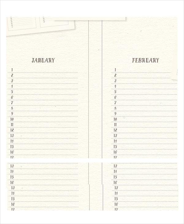 Blank Universal Calendar : Perpetual calendar free pdf psd documents download