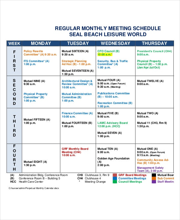 Magnificent Meeting Calendar Template Pictures Inspiration
