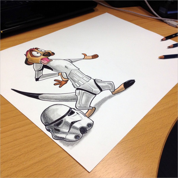 storm trooper timon pencil drawing