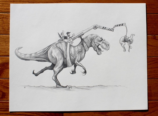 Training T-Rex Funny Drawing