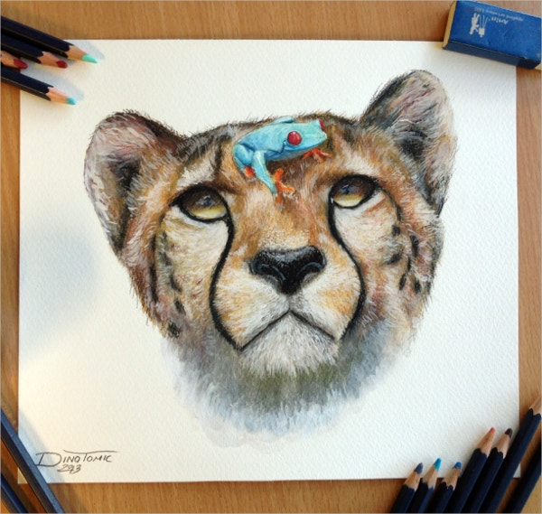 cheetah and a frog pencil drawing